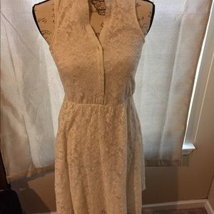 1960s inspired white overlay lace dress